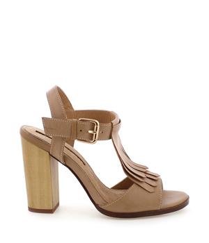 31a6764a957 Hnědé sandály s trásněmi na podpatku MARIA MARE