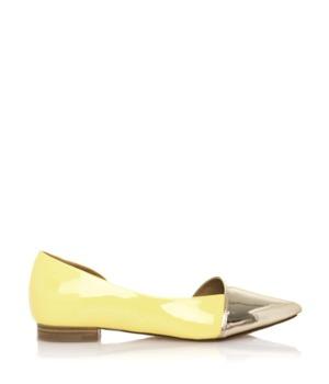Žluté baleríny se zlatou špičkou Maria Mare