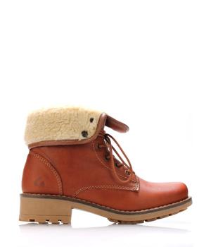 Koupit Hnědé kožené kotníkové boty s kožíškem Online Shoes