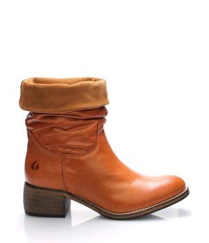 Hnědé kožené ohrnovací polokozačky Online Shoes 40