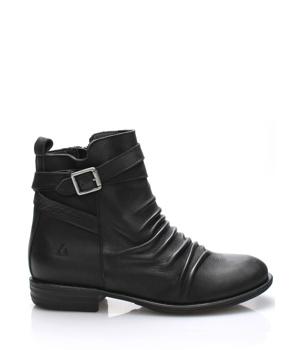 Koupit Černé kožené kotníkové boty s řemínkem Online Shoes