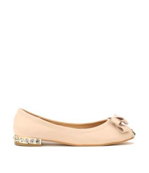 Park Lane Shoes Krémové kožené balerínky s kovovou špičkou a kamínky 37