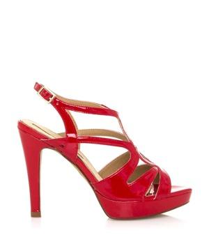 7e97a5d3b72 Červené páskové sandály s nízkou platformou Maria Mare