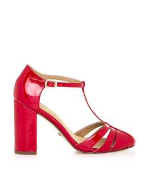 Trendy too · Červené sandály na vyšším širokém podpatku Maria Mare 0927637d6f