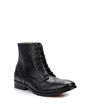 f0ecd6116c9 Černé kožené šněrovací boty se zipem Laceys