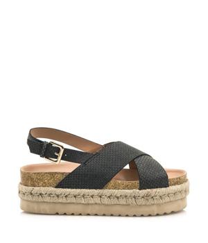 Černé sandály na espadrilové platformě MTNG
