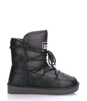 Černé lesklé boty s kožíškem D.Franklin