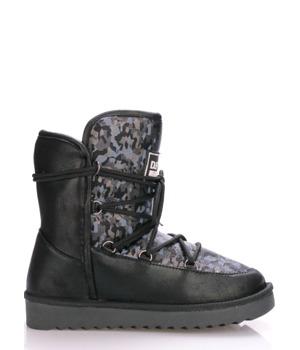 Černé boty s kožíškem a vzorem D.Franklin