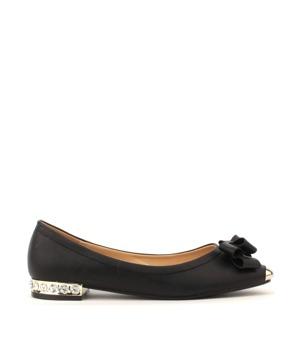 Park Lane Shoes Černé kožené balerínky s kovovou špičkou a kamínky 37