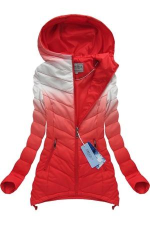 Bílo-červená prošívaná bunda ombre (W535) 583687bc7ef