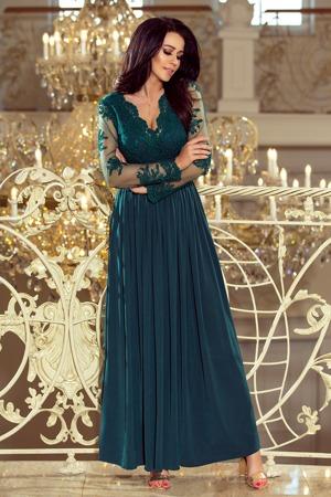 a984bb255e0e Dlouhé dámské šaty v lahvově zelené barvě s dlouhými rukávy a vyšívaným  výstřihem 213-1