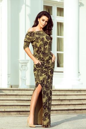 a6f72656da09 Dámské sportovní maxi šaty v khaki barvě s rozparkem a vzorem listů 220-2