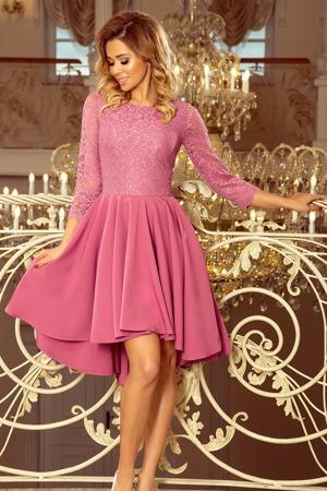001da1ea534e OLIVIA - Dámské šaty v lila barvě s krajkou a delším zadním dílem 231-2