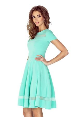 6ad86567bbb7 Mátové midi šaty s tylovými pruhy MM 003-1