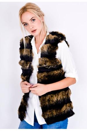 6c0e204a3aa7 Dvoubarevná stínovaná dámská vesta - kožíšek