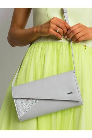 Podlouhlá spojková taška se šedým klopou