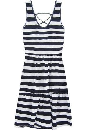 Bavlněné bílo-tmavě modré pruhované šaty (11042) – Letní šaty 0518db0168