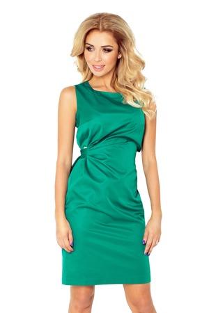 eb6d0ef56ab4 MEMORY - Dámské šaty v lahvově zelené barvě se zavazování 126-3