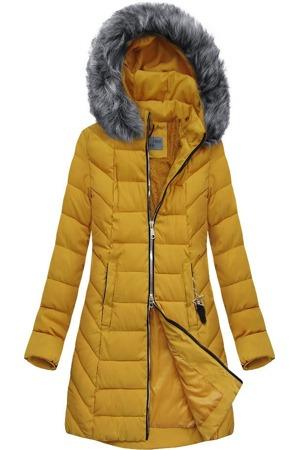 Žlutá prošívaná bunda s kapucí (B2645)
