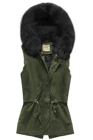 cdc717b41cc0 Bavlněná vesta v khaki-černé barvě s kapucí (B3711)