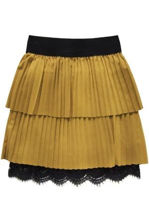 bc2a5c2c2db5 Hořčicová plisovaná sukně s krajkou (18922)