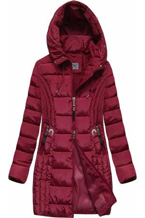 Delší dámská bunda v bordó barvě s kapucí (B2620-30)