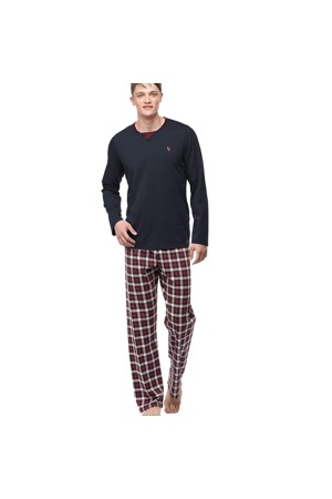 56d3289f1 Pánské pyžamo 00-15-7396-102 tmavě šedá - Vamp