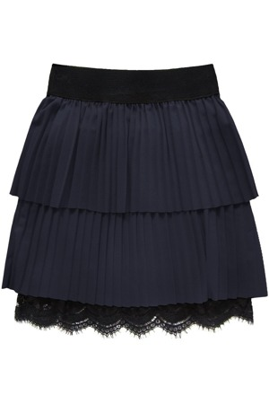 fbf7e4b50ee Tmavě modrá plisovaná sukně s krajkou (18922)