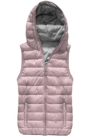 676d18f5fbdf Oboustranná vesta ve starorůžové barvě s kapucí (B1002)