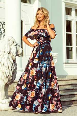 761d0fd7898 Dlouhé dámské černé šaty s barevnými květy a španělským výstřihem 194-3