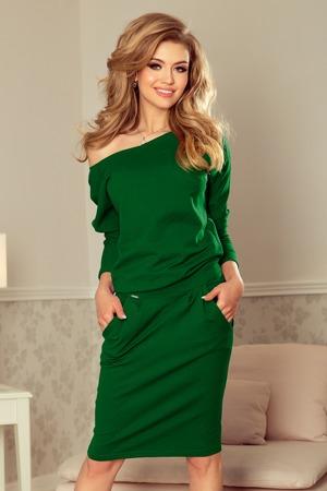 ce00e6888e88 Dámské teplákové kalhoty v lahvově zelené barvě s výstřihem na zádech 189-3