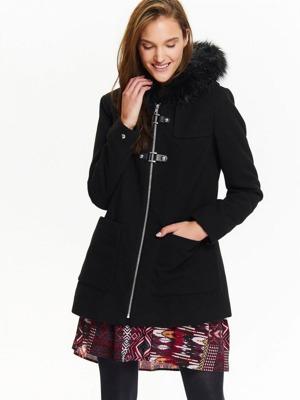 Top Secret Bunda dámská černá na zip s kožíškovou kapucí 2c25a1b919c