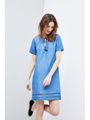 fbc9aa6d873 Moodo šaty dámské jeans s krátkým rukávem – Letní šaty