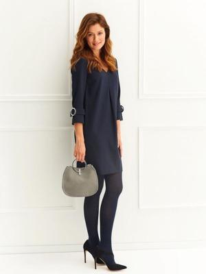 Top Secret šaty dámské v tmavě modré barvě s 3 4 rukávem 4b05fd0108f