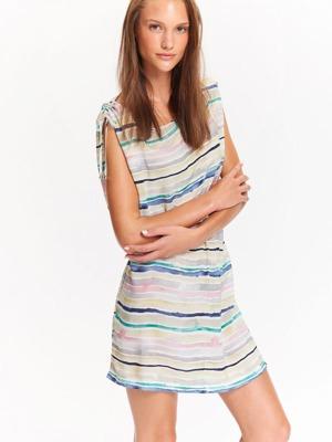 50939002bf4d Top Secret šaty dámské béžové s pruhama a gumou v pase
