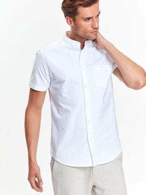 2e4d36390 Top Secret Košile pánská bílá s krátkým rukávem a stojáčkem