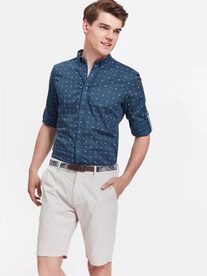 404330de406 Top Secret Košile pánská tmavě modrá se vzorem a dlouhým rukávem