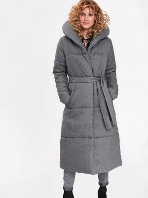 Top Secret Bunda dámská šedá dlouhá s velkým límcem 9b7869e6281
