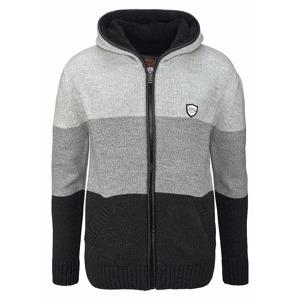 Cipo   Baxx Pletený svetr s kapucí Cipo   Baxx černá-šedá-proužkovaná dc60bf3d67