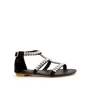 9719139ac Park Lane Shoes Černé kožené sandály Park Lane se stříbrnými cvočky