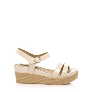 5b9ae8589d66 Leskle béžové sandály na dřevěné platformě MTNG 37