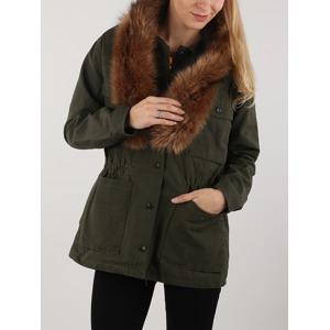 ff1fc420e Bunda Lee Fur Trimmed Jacket Dark Military Zelená