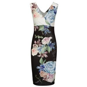 7fa777e7daa3 Černé pouzdrové květované šaty s řasením Scarlett B