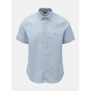 697c38774d64 Modrá pánská košile s příměsí lnu Tommy Hilfiger