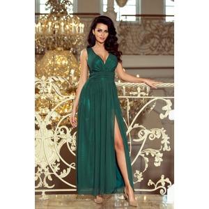 e9873dab5ed0 Dlouhé dámské šifonové maxi šaty v lahvově zelené barvě s rozparkem 166-5