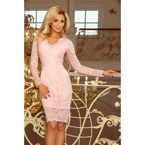 ceb3bfc2ab6c Dámské krajkové šaty v pastelově růžové barvě s dlouhými rukávy a výstřihem  170-4