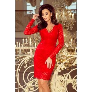f0cbbf2d872a Červené dámské krajkové šaty s výstřihem a dlouhými rukávy 170-6
