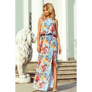 f42329306a00 Dámské maxi šaty se vzorem květů na blankytném pozadí