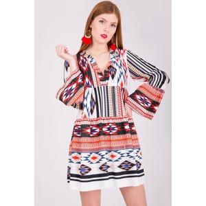 38ed53e8b435 Bílo-červené dámské šaty tunika oversize se vzorem
