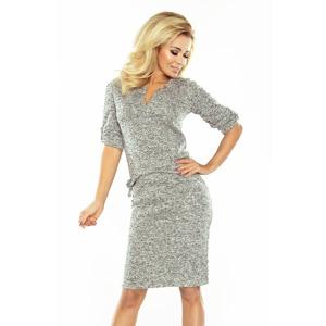 b5eebd5d9d24 Dámské teplé svetříkové šaty s límečkem v grafitově melanžové barvě 161-14  AGATA